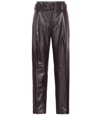 Polo Ralph Lauren High Rise Straight Leather Pants Brown