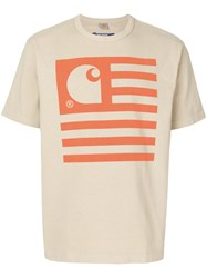 Junya Watanabe Comme Des Garcons Man Flag Print T Shirt Nude And Neutrals