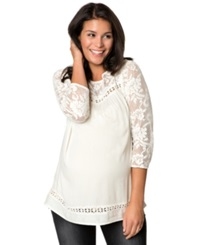 Wendy Bellissimo Maternity Lace Sleeve Peasant Blouse