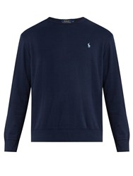 Polo Ralph Lauren Logo Embroidered Crew Neck Cotton Blend Sweatshirt Navy