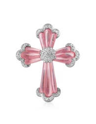 Roma Imperiale Carved Gemstone 18K Gold And Diamond Cross Pendant Pink