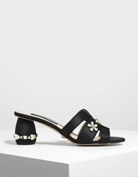 Charles And Keith Pearl Embellished Satin Mules Black