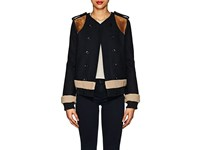 Derek Lam Shearling Trimmed Wool Cashmere Double Breasted Jacket Navy
