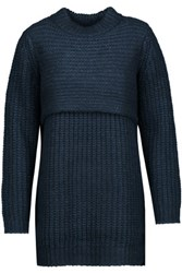 Michelle Mason Layered Ribbed Knit Sweater Dress Navy
