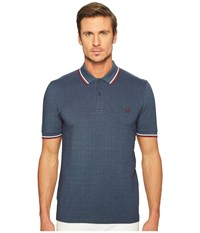 Fred Perry Slim Fit Twin Tipped Polo Lake Carbon Blue Oxford Snow White Maroon Men's Short Sleeve Knit