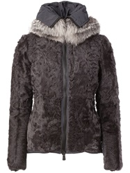 Moncler Grenoble Fur Padded Jacket Grey