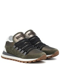 Brunello Cucinelli Mesh Suede And Leather Sneakers Green