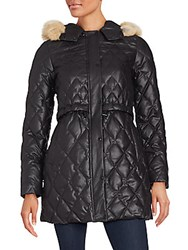 Andrew Marc New York Natural Coyote Fur Quilted Coat Black