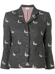 Thom Browne Duck Embroidered Classic Sport Coat Grey