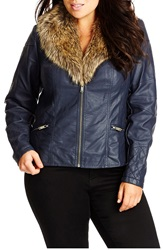 City Chic Faux Leather Jacket With Removable Faux Fur Collar Plus Size Slate