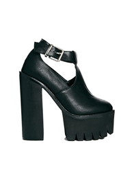 Truffle Collection Truffle Beth Ankle Strap Platform Heeled Shoes Black