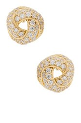 18K Yellow Gold Plated Sterling Silver Pave Cz Love Knot Stud Earrings White