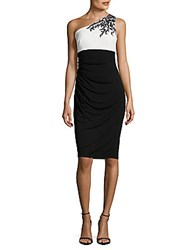 Theia Cinched Colorblock Dress Black White