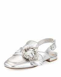 Miu Miu Metallic Jeweled Slingback Loafer Silver