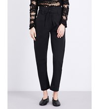Isabel Benenato Straight Cropped Cotton Trousers Black