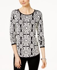 Charter Club Petite Jacquard Medallion Sweater Only At Macy's Vintage Cream Combo