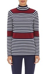 Tory Sport Women's Striped Mock Turtleneck Sweater Navy