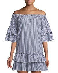 Romeo And Juliet Couture Ruffle Tiered Striped Shift Dress Black White
