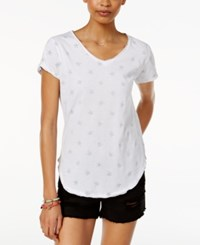 Hybrid Cold Crush Juniors' Printed Nautical High Low T Shirt Ivory Star