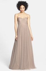Plus Size Women's Jenny Yoo 'Annabelle' Convertible Tulle Column Dress Mink Grey