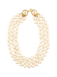Chanel Vintage Faux Pearl Three Tier Necklace White
