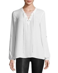 Max Studio Lace Up Solid Blouse Ivory