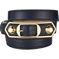 Balenciaga Women's Metallic Edge Wrap Bracelet Navy