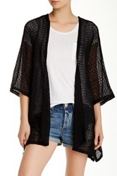 14Th And Union Open Front Boxy Cardigan Black