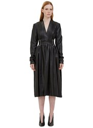 Preen Odette Leather Pleated Dress Black