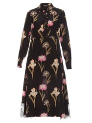 Rochas Iris Print Point Collar Silk Crepe Dress Black Multi