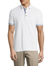 Bugatti Contrast Cotton Polo White