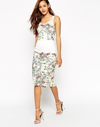 Asos Placed Print Lace Pencil Dress Ivory