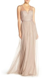 Women's Nouvelle Amsale 'Alyce' Illusion V Neck Pleat Tulle Gown Latte