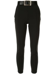 Elisabetta Franchi High Waisted Belted Trousers Black