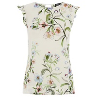 Warehouse Blossom Floral Shell T Shirt Cream