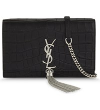 Saint Laurent Kate Crocodile Embossed Leather Wallet On A Chain Black