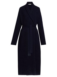 The Row Hera Belted Wool Blend Cardigan Navy