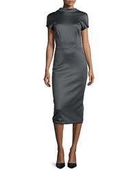 Cushnie Et Ochs Open Tuxedo Back Sheath Dress Size 4 Dark Grey