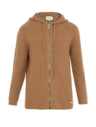 Gucci Hooded Zip Through Ribbed Knit Wool Cardigan Brown