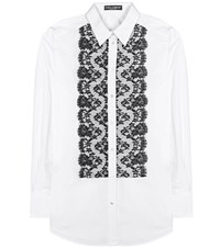 Dolce And Gabbana Lace Panelled Cotton Blend Blouse White