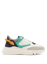 Buscemi Veloce Low Top Leather Mesh And Suede Trainers White Multi