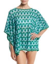 Missoni Mare Zigzag Short Tunic Coverup Blue Green