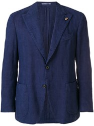 Gabriele Pasini Textured Single Breasted Blazer Blue