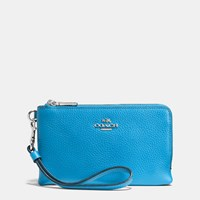 Coach Double Corner Zip Wristlet In Polished Pebble Leather Silver Azure