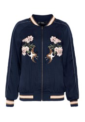 Hallhuber Embroidered Satin Bomber Jacket Blue