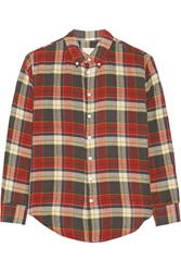 Band Of Outsiders Tartan Cotton Twill Shirt Red