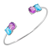 Intua Amethyst And Blue Topaz White Gold Open Bangle