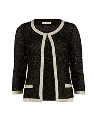 Gina Bacconi Sequin Jacket With Contrast Bands Black