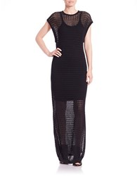 Dkny Crochet Overlay Maxi Dress Black