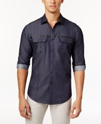 Inc International Concepts Men's Nickolas Faux Leather Striped Shirt Only At Macy's Dark Navy
